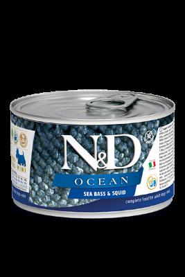 Консервы Farmina N&D Ocean Sea Bass & Squid Adult для взрослых собак, морской окунь и кальмар