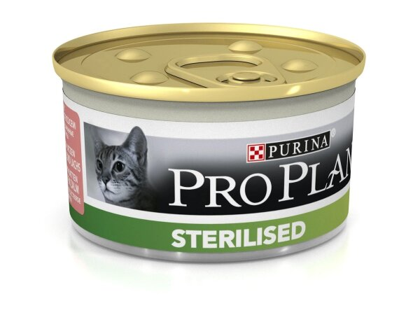 Консервы Pro Plan Sterilised для для кастрированных и стерилизованных кошек, лосось и тунец, 24шт x 85г