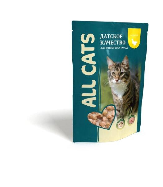 Консервированный корм для кошек ALL CATS с курицей, 85г