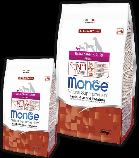 Сухой корм Monge Dog Speciality Extra Small для взрослых собак миниатюрных пород, Ягненок с рисом и картофелем