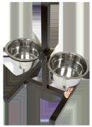 Миски для собак металлические 0,9л Зооник (бронза) с квадратной подставкой