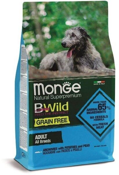 Сухой корм Monge Dog Grain Free беззерновой для собак всех пород, Анчоусы с картофелем и горохом, 2.5кг