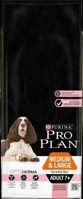 Сухой корм Pro Plan Medium & Large Adult 7+ Sensitive Skin для собак старше 7 лет средних и крупных пород с чувствительной кожей