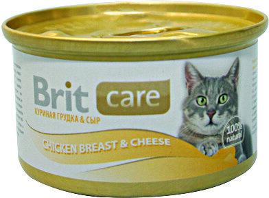 Консервы суперпремиум класса для кошек BRIT Care Куриная грудка и сыр, 80г