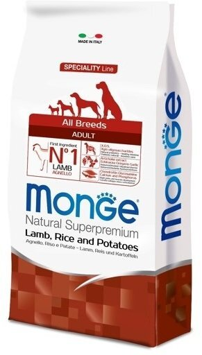 Сухой корм Monge Dog Speciality для собак всех пород, Ягненок с рисом и картофелем