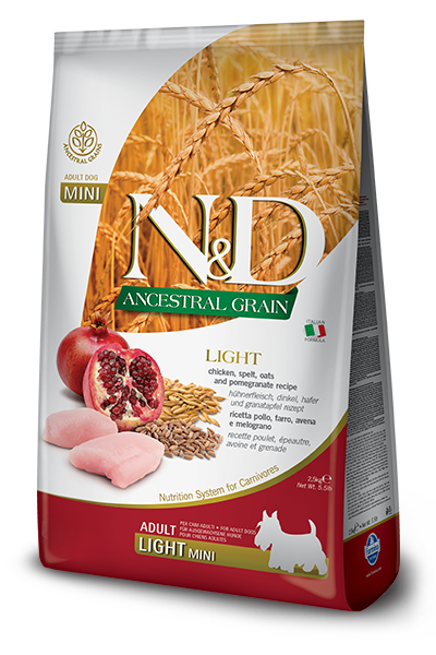 Сухой корм Farmina N&D Ancestral Grain Dog Adult Light Mini низкозерновой для взрослых собак мелких пород с курицей и гранатом