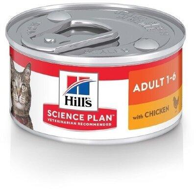 Консервы Hill's Science Plan для взрослых кошек, паштет с курицей, 82г