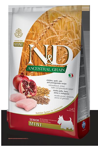 Сухой корм Farmina N&D Ancestral Grain Dog Senior Mini низкозерновой для пожилых собак мелких пород с курицей и гранатом