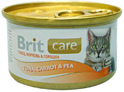 Консервы суперпремиум класса для кошек BRIT Care Тунец, морковь и горошек, 80г