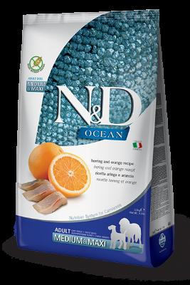 Сухой корм Farmina N&D Ocean беззерновой для собак средних и крупных пород с сельдью и апельсином