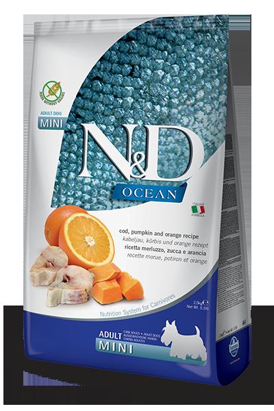 Сухой корм Farmina N&D Ocean беззерновой для собак мелких пород с треской и апельсином