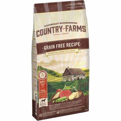 Сухой корм Country Farms беззерновой полнорационный для взрослых собак, с высоким содержанием говядины