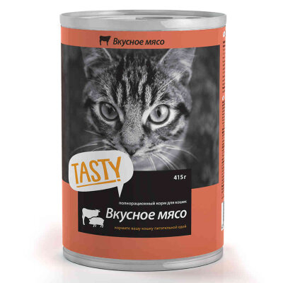 Консервированный корм для кошек Tasty мясное ассорти, 415г