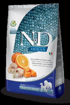 Сухой корм Farmina N&D Ocean беззерновой для собак средних и крупных пород с треской и апельсином