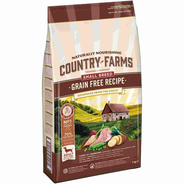 Сухой корм Country Farms беззерновой полнорационный для взрослых собак мелких пород, с высоким содержанием индейки